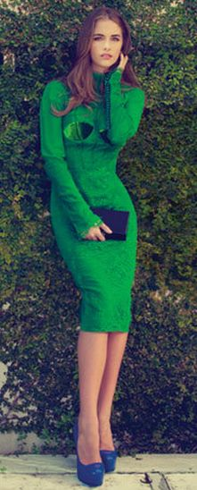 Tom Ford green dress | More colourful lusciousness here: http://mylusciouslife.com/photo-galleries/a-colourful-life-colours-patterns-and-textiles/