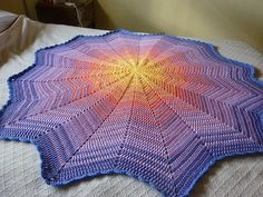Lyn's Round Ripple Afghan ~ Look closely to see how she fades between colors. Very pretty!