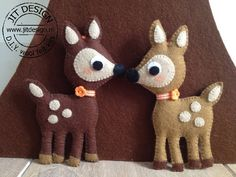 Felt Deer @Jit Design: This site is in Dutch. There are a LOT of cute ideas and they sell the patterns and kits...but I can't figure out how to order or if they sell in English. I sent a message asking for information. Will post what I find out. :-)