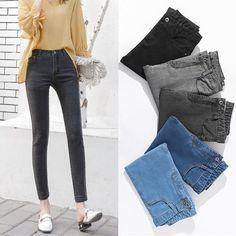 d54e8a32a7f42 2018 Casual Skinny Pencil Jeans Woman Plus Size High Waist Stretch jeans  Ladies Denim Pants Trousers