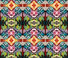 Faux graffiti with painted brick texture fabric by whimzwhirled on Spoonflower - custom fabric