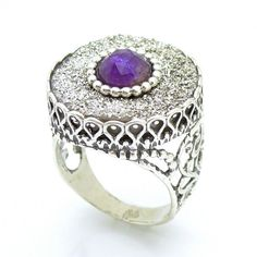 Druzy agate & amethyst set in a large filigree silver ring