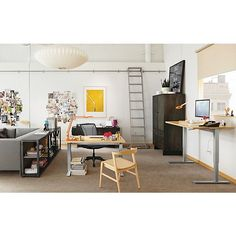 Shared Office Furniture Arrangement Idea  Two Desks; Shift Bookcase As  Divider; Couch.