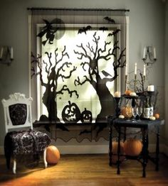 scary trees- great decor- looks like the trees are fighting to get INTO the parlor..lol