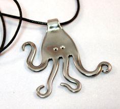 Recyclé Argenterie Bijoux Pendentif pieuvre--livraison gratuite