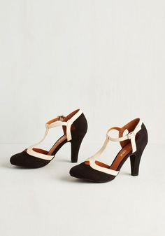 1920s style T-strap shoes : No Limit on Lovely Heel in Monochrome $69.99 AT vintagedancer.com