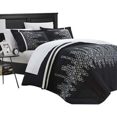 mike embroidered 3 piece duvet cover set king u0026 queen black