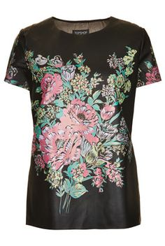 Flower Print Leather Look T-Shirt - Tees & Tunics - Tops  - Clothing