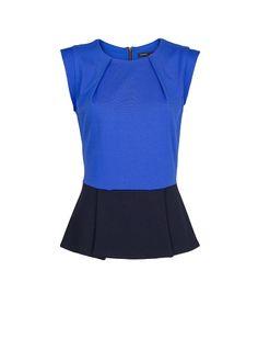 MANGO - Two-tone peplum blouse