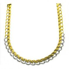 Estate Round Cut 5.00ct Diamond 18k Yellow & White Gold Necklace - See more at: http://www.newyorkestatejewelry.com/necklaces/5.00ct-diamond-gold-necklace-/25319/7/item#sthash.F5dYrDxD.dpuf
