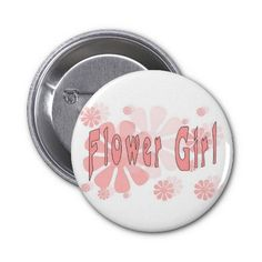 Flower Girl Pink Flowers #flowergirl #weddings #gifts #button #badge