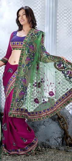 81002, Party Wear Sarees, Embroidered Sarees, Net, Georgette, Machine Embroidery, Kundan, Resham, Zari, Thread, Red and Maroon Color Family