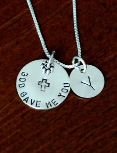 """Personalized God Gave Me You Necklace   K&S Impressions God Gave Me You necklace personalized with initial- a keepsake adoption gift, couples jewelry or new baby necklace to celebrate God's gift.    Sterling silver hand stamped necklace.  Circle charm measures 3/4″- reads """"God Gave me you.""""  Personalized initial charm measures 1/2″."""
