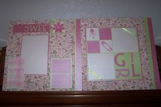 Baby 12 x 12 Scrapbook Layout. Sweet Girl by 1OfAKindCrafts