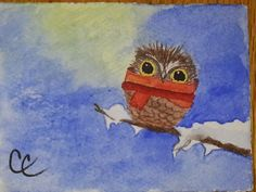 Scarf Wrapped Owl Blank Card Red Scarf around a by ColorsAndChords