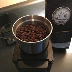 Getting ready to grind some more fresh Theodore's Coffee. (I drink the decaf all day long.) We have beans AND ground coffee available!