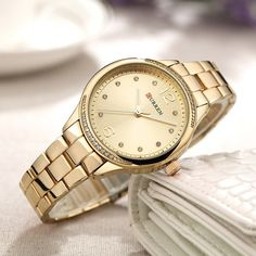 CURREN Casual Quartz Wrist Watch Stainless Steel Band Round Dial Simple Numerical Watches for Women is hot-sale, waterproof watches, bracelet watch, and more other cheap women watches are provided on NewChic. Crystal Gifts, Crystal Design, Womens Fashion Online, Fashion Women, Women's Fashion, Fashion Watches, Women's Watches, Wrist Watches, Watches Online