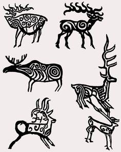 "Dmitry Konoshonkin, founder of the project ""En . Celtic Symbols, Celtic Art, Native Art, Native American Art, Historical Tattoos, Ancient Tattoo, Paleolithic Art, Cave Drawings, Deer Art"