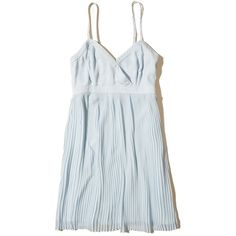 Hollister Pleated Babydoll Dress (185 SAR) ❤ liked on Polyvore featuring dresses, light blue, hollister co dresses, doll dress, light blue dresses, wrap front dress and babydoll dress