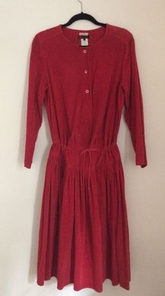 Incredible KENZO JAP made in France size 40 cotton corduroy long sleeve dress. This dress is so soft corduroy is like butter. This was very difficult to photograph it is a bright cherry red. very 1980s full skirt. | eBay!