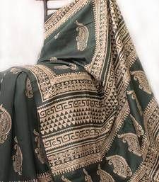 Buy Dark_Green -  White Discharge Print silk saree hand-woven-saree online
