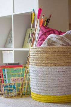 DIY Painted Woven Basket | Lovely Indeed