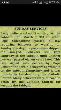Sunday is NOT the Sabbath