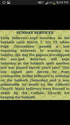 Sunday is NOT the Sabbath
