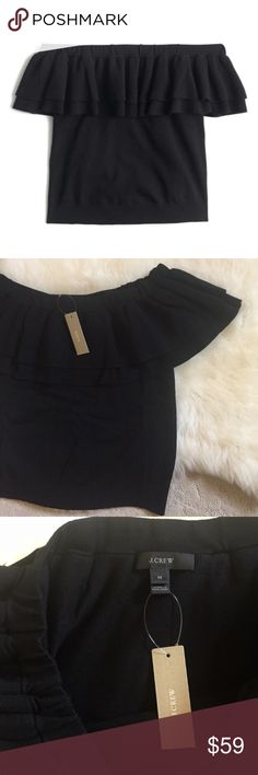 """J. Crew Black Off The Shoulder Sweater New With Tags- girly black lightweight off the shoulder ruffle  sweater with short sleeves and elasticized off the shoulder neckline. Dry clean. 72% Viscose, 28% Polyester. Bust 34""""-39"""", Length 16.5"""". *Last picture shows this sweater in green and is only for reference on how it fits. J. Crew Sweaters"""