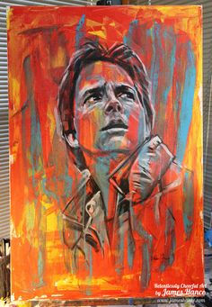 """Latest Original Painting For Sale - """"Marty"""" (Back To The Future)24"""" x 36"""" acrylic on canvas - by James Hance"""