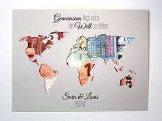 Geldgeschenke - Geldgeschenk zur Hochzeit Weltkarte mit Namen - ein Designerstück von LoveAndCrafts bei DaWanda