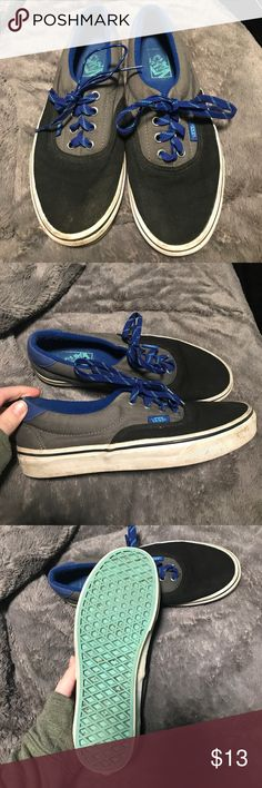 Black and gray vans Worn but in great condition! Some dirt on the rubber but could easily be cleaned! Changing the laces could give an entirely different look to them too! Boys 6/women's 7.5 Vans Shoes Sneakers