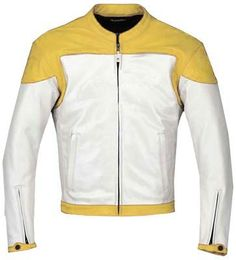 Yellow and white motorcycle jacket with armor protection.Buy it now for $219 USD
