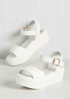 True to Flatform Sandal by BC Footwear - White Solid Casual Beach/Resort Vintage Inspired Minimal Summer Better Platform White White Daytime Party White Sandals, White Shoes, White Platform Shoes, Sandals Platform, Slingback Shoes, Shoes Sandals, Flatform Sandals Outfit, Footwear Shoes, Strappy Sandals