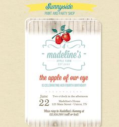 Apple Printable Party Invitation For Birthday Shower Or School Event Rustic Vintage Style Fall Farm Invite Of Our Eye