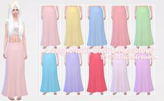 ♦ Long Maxi Skirt RecolorsLong cute maxi skirts in my summery vibrant and pastel colors.  D o w n l o a d - Long Maxi Skirt Recolors   -NOTE-All come in one file.Comes in 23 swatches.These are not overrides.♦ CREDITHair by Kiara24Top byAnoherm-TOU-Please do not redistribute or claim these as your own thank you! ♥.