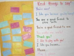 """Kind Things to Say""- get kids thinking about kindness and catching each other saying kind things !"