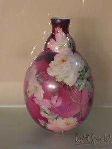 "Vintage Victorian Hand Painted Roses on Milk Glass 12"" Vase"