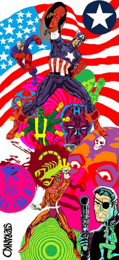 Jim Steranko Nick Fury & Captain America Psychedelic '60s Poster Awesome