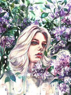 "rexisky: ""In the Syringa (Watercolor on Paper) by Lesya Poplavskaya """