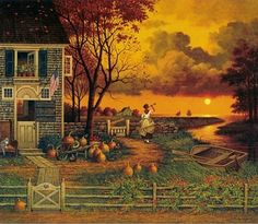 Charles Wysocki - Supper Call.  One of my favorite pieces of folk art.