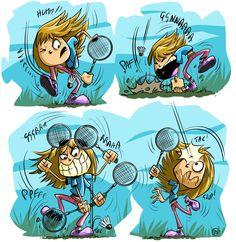 Badminton, Sport, Illustrations, Fictional Characters, Humor, Deporte, Sports, Illustration, Fantasy Characters