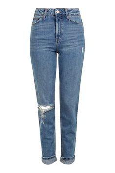 MOTO Mid Blue Rip Mom Jeans