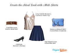 Midi Skirts, every girl's MUST-HAVE!  More styling mix and match: http://blog.coupon4mom.net/create-the-ideal-look-with-midi-skirts/