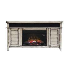 The Simmons media mantel in a distress country white features an integrated sound bar, sold with a 26EF031GRP Classic Flame Electric Fireplace Insert with safer plug.