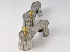 """""""Ahimsa, or the avoidance of harm, is a fundamental tenet of Hinduism, Jainism, and Buddhism. A reflection of this belief can be seen in the design of the paduka, one of the oldest forms of Indian footwear. Paduka are stilted to reduce the risk of injury to insects or microscopic life by raising the sole of the shoe off the ground.""""~ Bata Shoe Museum"""