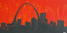 St Louis City Scape with Cardinal Red Sky Original by KatieLouArt. , via Etsy. Cardinals Baseball, Pallet Art, Cityscapes, St Louis, Art Ideas, Skyline, Projects, Red, Painting