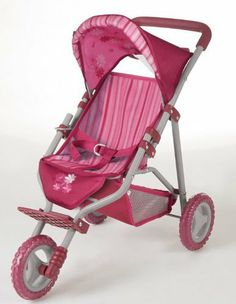 """Gotz Baby Doll Stroller with Canopy 2013 (Limited Edition) by Gotz. $56.99. This beautiful pink baby doll stroller is highly realistic and comes with a canopy to keep baby out of the sun. The stroller fits all Gotz dolls, and most other 13"""" to 18"""" dolls.   About Gotz products: Gotz products encourage creative and educational play. Their dolls are high quality and meticulously crafted. All of their clothing, including button-holes, pockets, embroidery etc. is realisti..."""