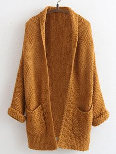 Khaki Long Sleeve Open Front Pockets Coat