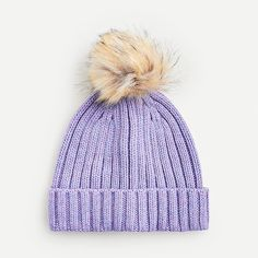 Ribbed Beanie With Faux-fur Pom-pom Faux Fur Pom Pom, Winter Essentials, Winter Hats, Cozy Winter, Cashmere Sweaters, Knitted Hats, J Crew, Beanie, Clothes For Women